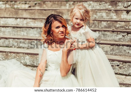 109b38197a990 Mother Daughter Wedding Dress Have Nice Stock Photo (Edit Now ...