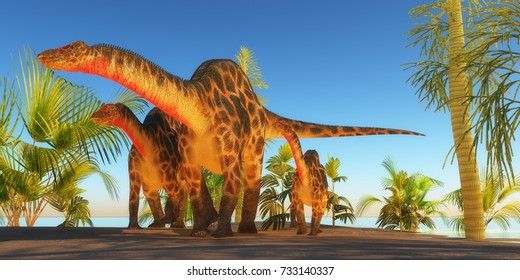 Mother Dicraeosaurus Dinosaur 3d illustration - A Dicraeosaurus dinosaur mother escorts her youngsters through tropical plants and trees in the Jurassic Era.