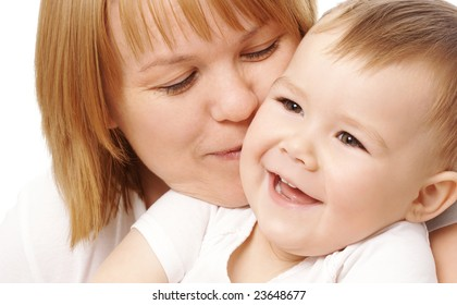 Mother embracing her happy child, isolated over white
