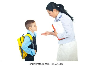 Mother explain and gesticulate to her son before going to school isolated on white background