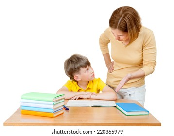 the mother explains to her son-schoolboy solution of the task