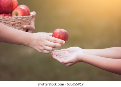 Mother farmer hand giving an apple to little child girl hand in the garden in vintage color tone