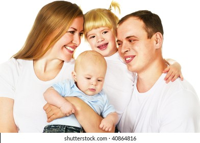 mother, father, daughter and son; closeup faces