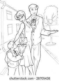 Mother and father are leading a little boy at school. It's a first day at school. The boy is holding a bunch of flowers for his first teacher. Contour illustration.