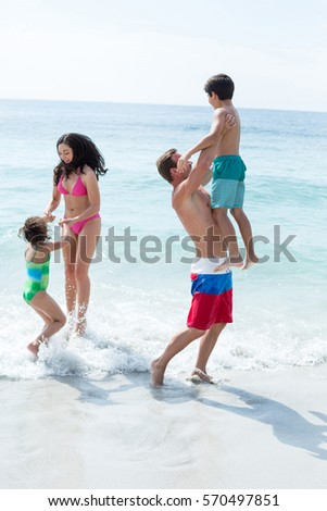 846c317d03 Mother Father Playing Children On Sea Stock Photo (Edit Now ...