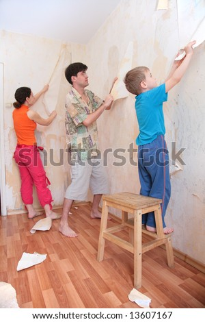 Mother Father Son Break Wallpapers Wall Stock Photo Edit Now