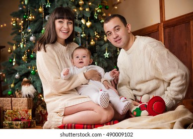 Mother Father Son White Knitted Sitting Stock Photo (Edit