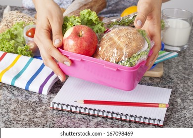 Mother giving healthy lunch for school in the morning