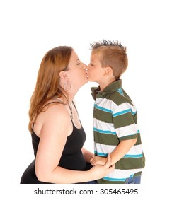 A mother having her little boy on her lap and giving him a big kiss,isolated for white background.
