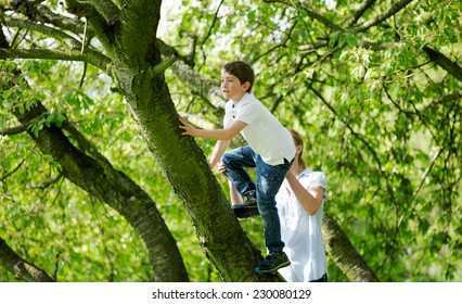 Mother helping child to climb on tree