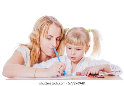 Mother helping daughter to draw isolated on white