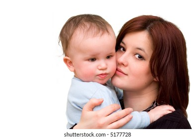 Mother and her 1 year old son. Over white.