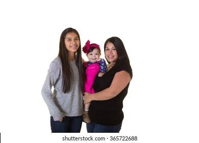 A mother and her 2 children isolated on white