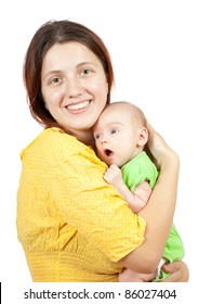 mother with her baby. Isolated over white background
