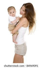 mother with her baby on white isolated background