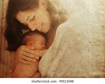 mother with her baby. Photo in old image style.