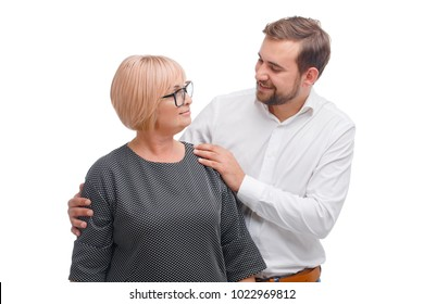 A mother and her grown adult son. White background