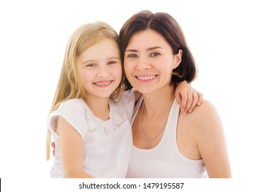 Mother with her little daughter girl isolated on a white background