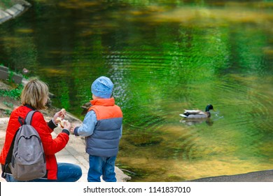 Mother And Her Son Are Feeding Ducks With Bread Crumbs Family Is Resting Near The