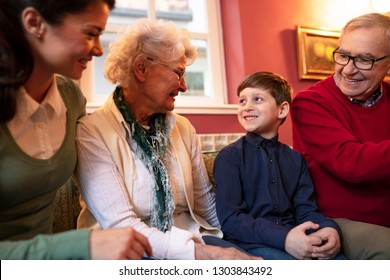 Mother, her son and grandparents having a great time while being together