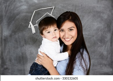 A mother with her young child who is graduating