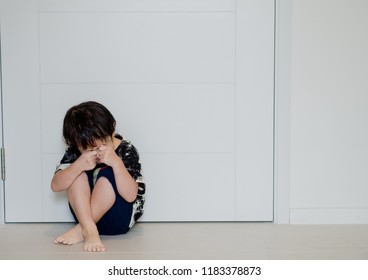 mother hit her kid, children crying, little boy cry, feeling sad, young boy unhappy, family violence concept, selective focus and soft focus, do not go to school