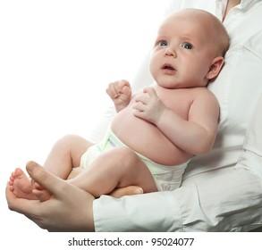 mother holding baby isolated on white studio shot
