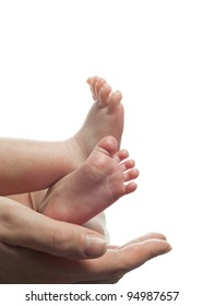 mother holding baby's foot closeup isolated on white