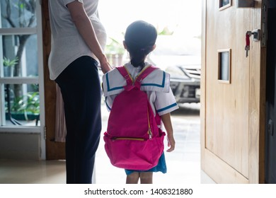 Asian Mother Hold Hand Kid School Images, Stock Photos & Vectors
