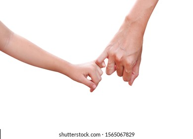 Mother holding her asian little daughter hand isolated on white background with clipping path , care and support concept