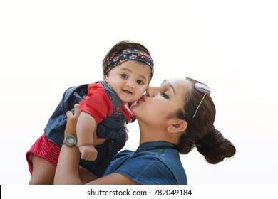 mother holding her cute daughter isolated on white background