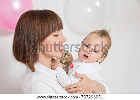 Mother Holding One Year Old Baby Stock Photo Edit Now 737206051