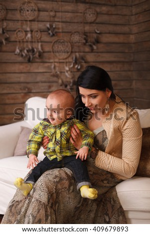 Mother Hugging Her Son Child Poses Stock Photo Edit Now 409679893