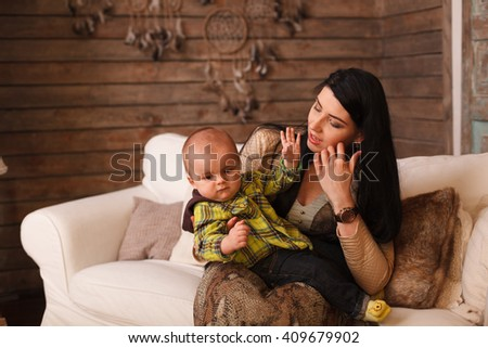 Mother Hugging Her Son Child Poses Stock Photo Edit Now 409679902