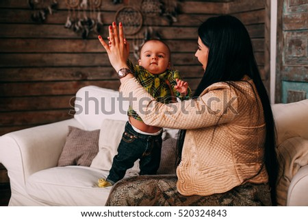 Mother Hugging Her Son Child Poses Stock Photo Edit Now 520324843