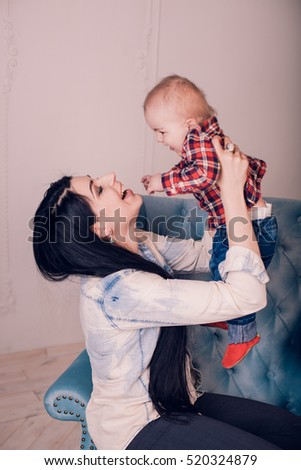 Mother Hugging Her Son Child Poses Stock Photo Edit Now 520324879