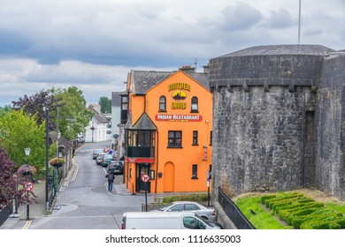 Mother India restaurant and Athlone castle, in Athlone, Co. Westmeath, Ireland, taken on July 11th, 2017.