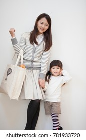 Mother of Japanese with eco bag