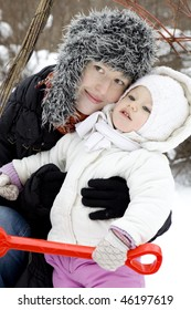 mother with little cute baby outdoor