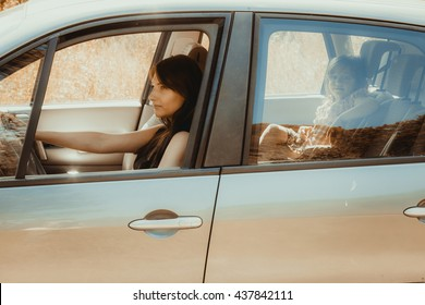 Mother and little girl child kid with seat belt fastened sitting in car. Holidays vacation trip. Safe summer travel.