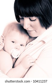 Mother and little son sepia filtered photo