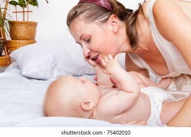 Mother looking at baby boy