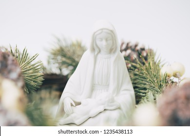 Mother Mary with Jesus Christ on white background.Concept for Christmas Nativity in Christmas celebration.