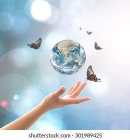 Mother nature earth with butterfly for world environment day, csr with people concept: Element of this image furnished by NASA