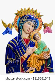 Mother of Pepertual help, Statue of our lady of perpetual help close up in  the catholic church.