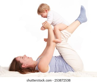 Mother playing with her son laughing