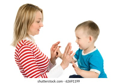 Mother plays with the small son, is isolated on a white background
