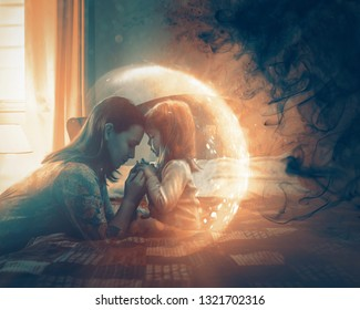 A mother praying for her child and a light shines around to protect from darkness