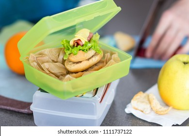 Mother prepares lunch for child and puts it  into food box, healthy eating concept