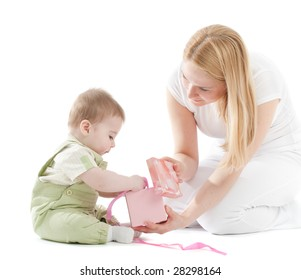 Mother present to her baby boy gift in pink box